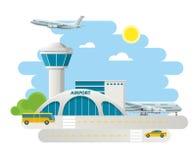 De luchthavenbouw en vliegtuigen op baan, taxiaankomst bij Luchthaven op natuurlijke landschapsachtergrond Vlakke ontwerpvector Royalty-vrije Stock Foto's