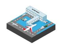 De luchthavenbouw met airplans, bus, de lader van ladingsauto's, treden Vector isometrische illustratie vector illustratie