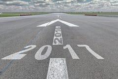 De luchthavenjaar van de pijlbaan 2016 tot 2017 Stock Foto