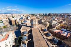 De luchthorizon van Valencia met Plein DE La virgen Stock Afbeeldingen