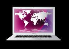 De luchtlaptop van de appel macbook computer Stock Afbeeldingen