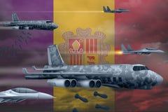 De Luchtmacht die van Andorra stakingsconcept bombarderen De vliegtuigen van de het legerlucht van Andorra laten vallen bommen op vector illustratie