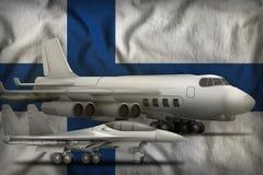 De Luchtmachtconcept van Finland op de de vlagachtergrond van de staat 3D Illustratie Stock Afbeelding