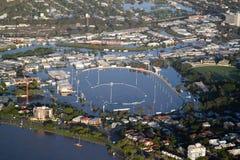 De LuchtMening Albi van Januari 2011 van de Vloed van de Rivier van Brisbane Stock Fotografie