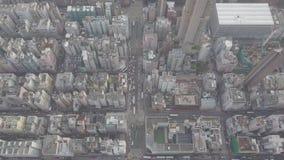 De luchtmening over Kowloon, Veinzerij Shui Po, in Hong Kong bespaart op logboekdossier stock videobeelden