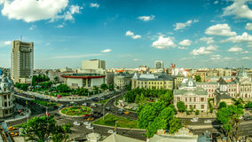 De luchtmening van Boekarest Stock Fotografie
