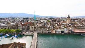 De luchtmening van cityscape van Zürich Stock Foto