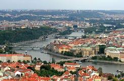De luchtmening van de Stad van Praag Stock Foto