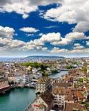 De luchtmening van de stad van Zürich Stock Fotografie