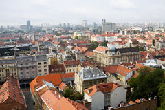 De luchtmening van de stad van Zagreb royalty-vrije stock fotografie