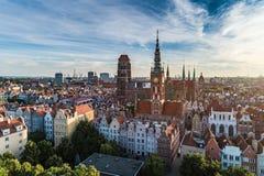 De luchtmening van Gdansk stock fotografie