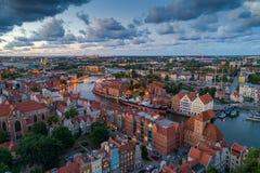 De luchtmening van Gdansk stock afbeeldingen
