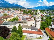 De luchtmening van Hall Tirol stock afbeelding