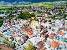De luchtmening van Hall Tirol stock fotografie