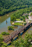 De luchtmening van Harpers-de Sporen van de Veerboottrein, West-dieVirginia van de Hoogten van Maryland wordt gezien overziet royalty-vrije stock fotografie