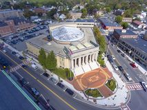 De luchtmening van het Framinghamstadhuis, Massachusetts, de V.S. Stock Afbeelding