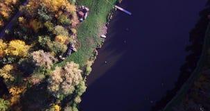 De luchtmening van het kleurrijke de herfstbos kijkt neer op de herfstbos neer Kijkend op de ongelooflijk mooie herfst stock video