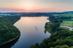 De luchtmening van het Lesnianskiemeer stock foto