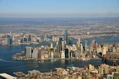 De luchtmening van Manhattan Stock Afbeeldingen
