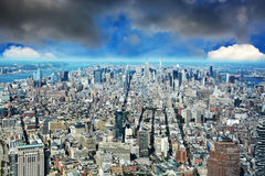 De luchtmening van New York Manhattan van Één World Trade Center Stock Afbeelding