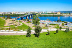 De luchtmening van Nizhnynovgorod stock foto