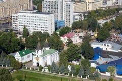 De luchtmening van de orthodoxe Kerk van St Mary Magdalene werd opgericht in 1847 en andere gebouwen Royalty-vrije Stock Foto's