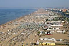 De luchtmening van strandrimini Italië Stock Foto's