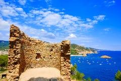 De Luchtmening van Tossa de Mar in Costa Brava van Girona Royalty-vrije Stock Foto