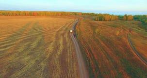 De luchtmening van UHD 4K Mid-air vlucht over gele landelijke gebied en landweg stock footage