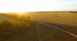 De luchtmening van UHD 4K Mid-air vlucht over gele landelijke gebied en landweg stock videobeelden