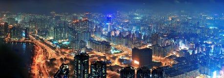 De luchtnacht van Hong Kong Stock Afbeeldingen