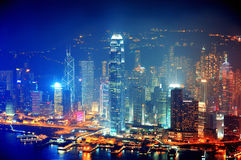 De luchtnacht van Hongkong Royalty-vrije Stock Afbeelding