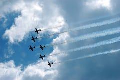 De Luchtparade van zes Vliegtuig Stock Foto's