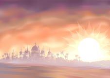 De luchtspiegeling van de woestijn royalty-vrije illustratie