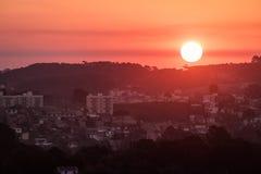 De luchtstad van meningscuritiba bij zonsondergang - Curitiba, Parana, Brazilië Stock Fotografie