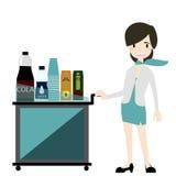 De luchtstewardess dient snack en dranken op Vluchtvector Royalty-vrije Stock Fotografie