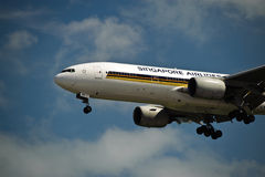 De Luchtvaartlijn 777-200ER van Singapore op Def. Royalty-vrije Stock Fotografie