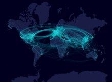 De luchtvaartlijn leidt nachtkaart Stock Fotografie
