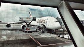 De Luchtvaartlijn van emiraten A380 Stock Afbeelding