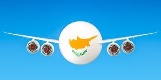 De luchtvaartlijnen en flying& x27 van Cyprus; s concept het 3d teruggeven Stock Afbeelding