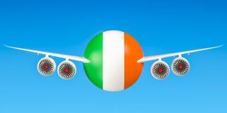 De luchtvaartlijnen en flying& x27 van Ierland; s concept het 3d teruggeven Stock Foto