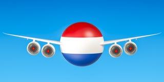 De luchtvaartlijnen en flying& x27 van Nederland; s, het 3D teruggeven Royalty-vrije Stock Foto