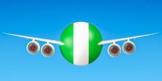De luchtvaartlijnen en flying& x27 van Nigeria; s concept 3d Royalty-vrije Stock Afbeelding