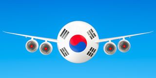 De luchtvaartlijnen en flying& x27 van Zuid-Korea; s concept het 3d teruggeven Stock Foto's