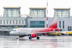 De luchtvaartlijnen van luchtbusa319 Rossiya, Rusland heilige-Petersburg Pulkovo, 17 Februari 2017 Stock Afbeelding