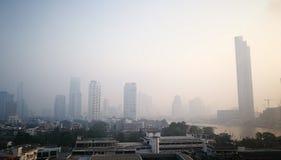 De luchtvervuiling in Bangkok heeft vanochtend op 14 Januari, 2019 verergerd stock afbeelding