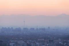 De Luchtvervuiling van Peking stock foto