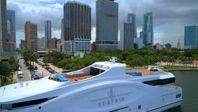 De luchtvideo van Seafairdowntwon Miami stock videobeelden