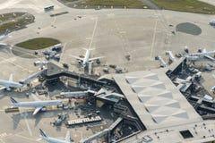De luchtvliegtuigen van beeldair france bij Orly Airport-terminals royalty-vrije stock foto's