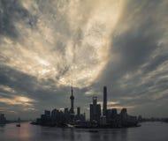 De Lujiazhui-Horizon van Pudong Stock Afbeeldingen